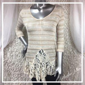 🎀SALE🎀 BLU PEPPER | Lace Knit Sweater Tunic NWOT